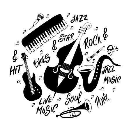Set of musical instruments: piano, trumpet, cymbals, guitar, cello and saxophone. Vector hand drawn illustration. Banque d'images - 125283621