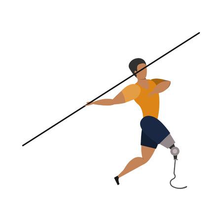 Athlete with leg bioprosthesis on a white background.