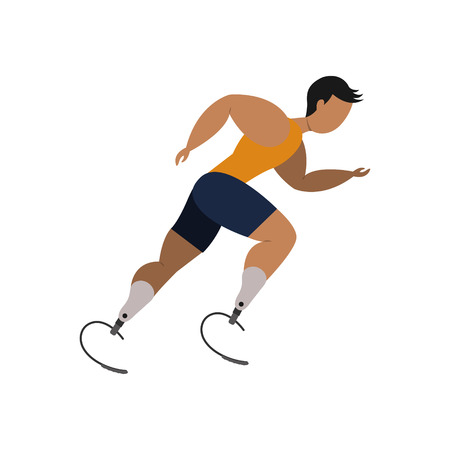 Athlete with leg bioprosthesis on a white background. Paralympic Sport Concept.