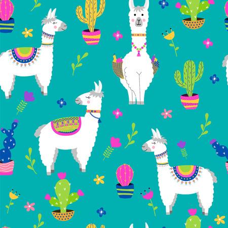 Nahtloses Muster mit Lama, Kaktus, Blumen. Vektor-Illustration. Vektorgrafik