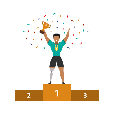 Sportsman with prosthesis leg proudly standing on the winning podium holding up winning trophy on a white background. Vector illustration.
