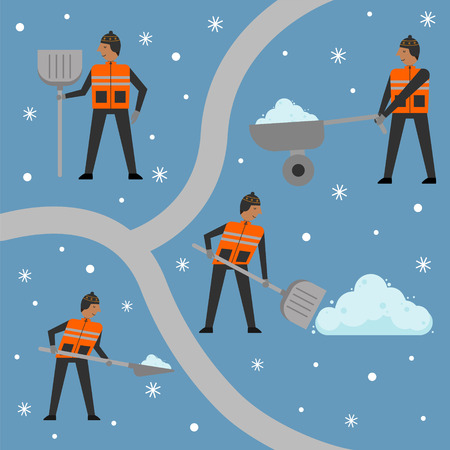 Set of men with shovels and wheelbarrow ready to clean the snow. Snow clearing. Winter concept. Vector Illustration.
