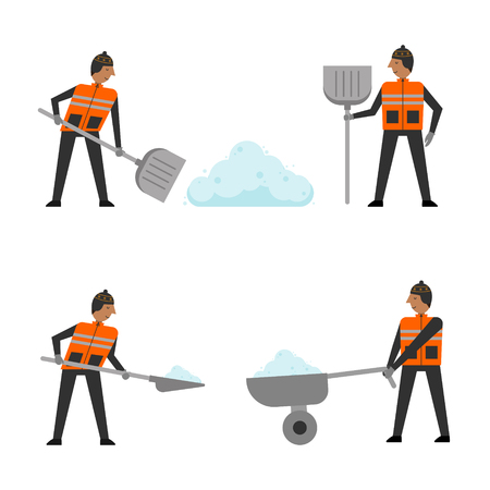 Set of men with shovels and wheelbarrow ready to clean the snow. Snow clearing. Winter concept. Vector Illustration. 矢量图像