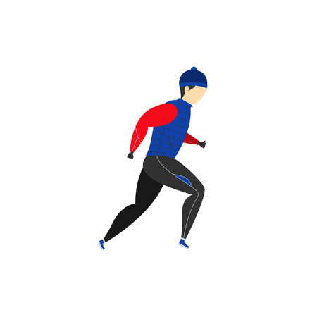 A man runs in winter clothes. Winter running. Sports activities. Vector illustration. Vettoriali