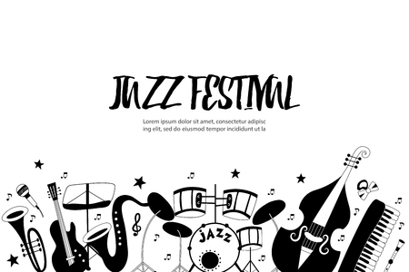 Jazz festival banner with musical instruments: piano, trumpet, cymbals, guitar, cello and saxophone. Vector hand drawn illustration.