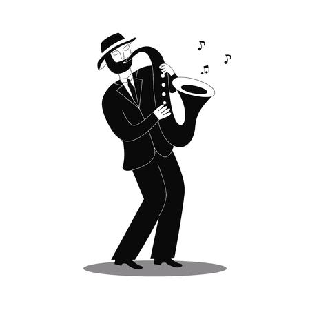 Jazz saxophone player. International jazz day and World Jazz festival. Vector illustration. Illustration