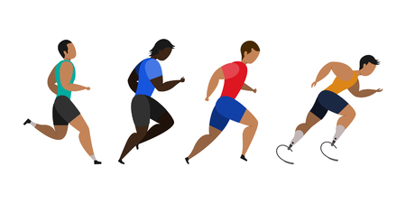A disabled person is involved in running a marathon. Jogging men. Participants of athletics event trying to outrun each other. Vector illustration.