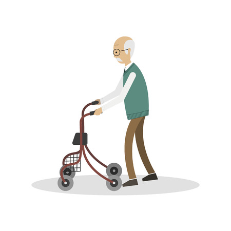 Old man walking with his walkerwheelchair, isolated on a white background. Vector illustration.