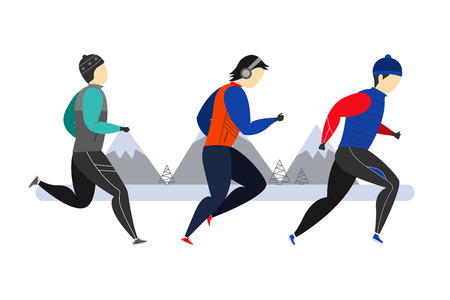 A group of athletes running in winter clothes. Winter running. Sports activities. Vector illustration.
