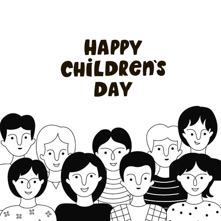 Happy Children's day poster with boys and girls. Vector hand drawn illustration. Doodle style.