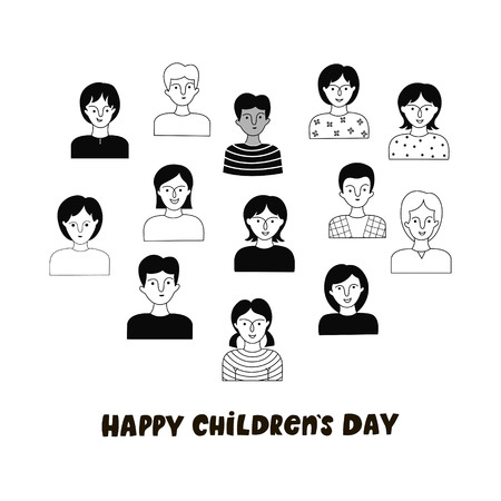 Happy Children day poster with boys and girls. Vector hand drawn illustration. Doodle style. Vettoriali