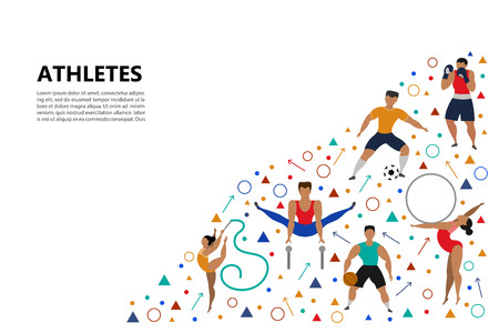Set of athletic people (football player, boxer, basketball player, rhythmic gymnastics, gymnastics) doing various kinds of sports. Sport Concept. Vector illustration.
