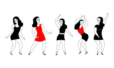 Set of five young girls dancing or happy women dancers isolated on white background. Black and white vector doodle illustration.