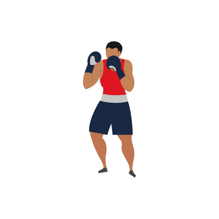 Vector illustration of a male boxer. Sports concept.