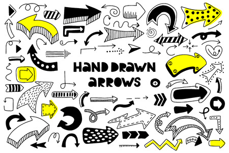 Big set of hand drawn arrows on a white background. Doodle style. Vector illustration.