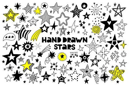 Big set of hand drawn stars on a white background. Doodle style. Vector illustration.