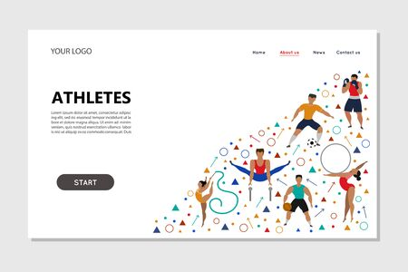 Landing page template of atletes(football player, basketball player, artistic gymnast, sports gymnast, boxer).  Vector illustration.