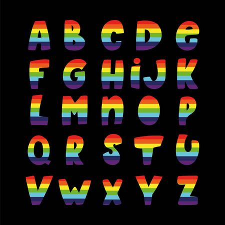 Colorful rainbow alphabet on a black background. Vector graphic.
