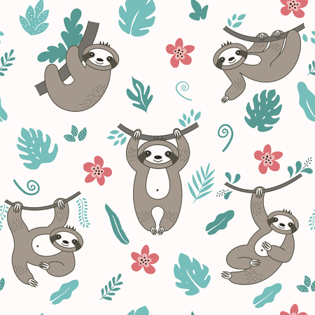 Vector seamless pattern with cute sloths in different positions. Cartoon funny kawaii characters. Can be used for cards, flyers, poster, t-shirt.