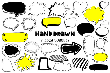 Big set of hand drawn speech bubbles on a white background. Doodle style. Vector illustration.
