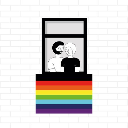 Windows of a gay couple. LGBT flag on the window. Vector illustration in doodle style. Vettoriali