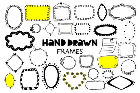 Big set of hand drawn frames on a white background. Doodle style. Vector illustration.