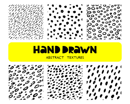 Set of six hand drawn ink seamless patterns. Doodle style. Vector illustration.