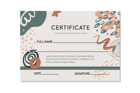 Certificate template with abstract flowers and shapes, vector illustration.