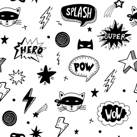 Seamless pattern with superhero masks, speech bubbles, stars  on white background. Vector doodle background.