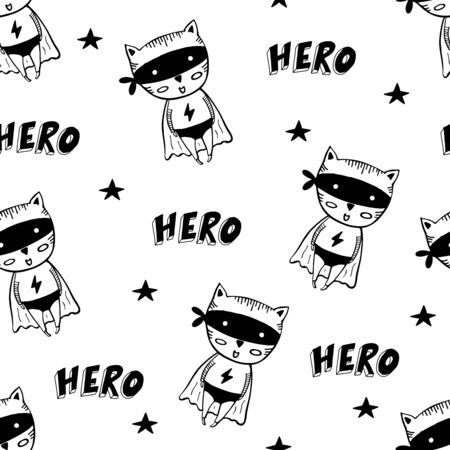 Seamless pattern with cartoon superheroes in black costumes. Cute animals. Can be used for invitation cards and drawing poster, T-shirt Print and cartoon character. Vettoriali