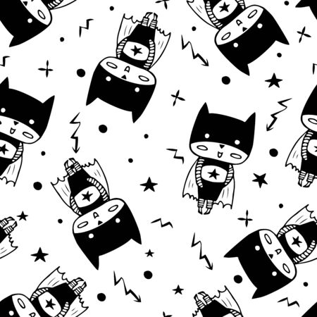 Seamless pattern with cartoon superheroes in black costumes. Cute animals. Can be used for invitation cards and drawing poster, T-shirt Print and cartoon character. Illustration