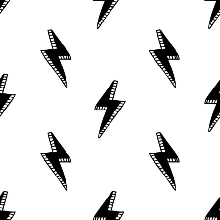 Seamless pattern with Thunder lights. Hand drawn vector illustration.