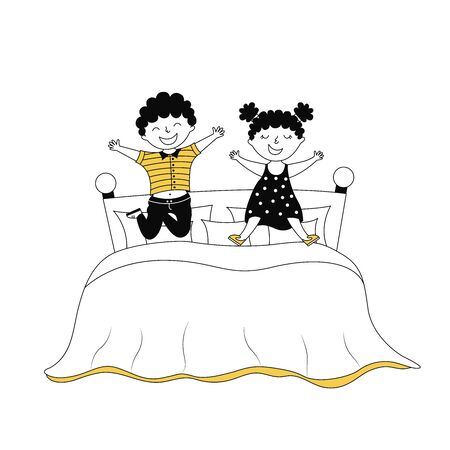 Children jumping on bed cartoon vector illustration. Active morning, bedtime. Cute cheerful kids in bedroom isolated on white background. Siblings characters having fun. Naughty laughing boy and girl