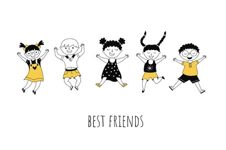 Best friends cartoon vector illustration with typography. Cute kids jumping together on white background. Cheerful boys and girls outline characters. Friendship, togetherness, childhood banner design