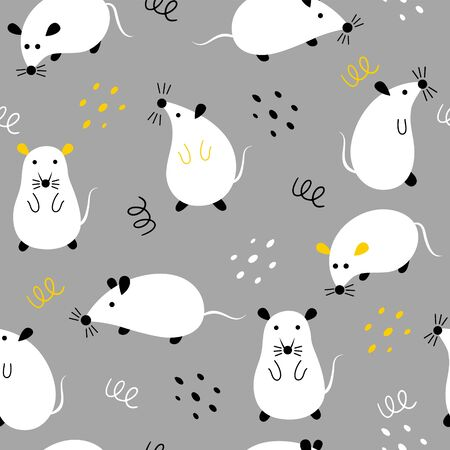 Seamless pattern with cute mouses on a gray background. Childish wallpaper with rats in different positions.