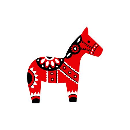 Dalecarlian horse with Scandinavian folk art ornament. Vector flat illustration on a white background.  Vettoriali