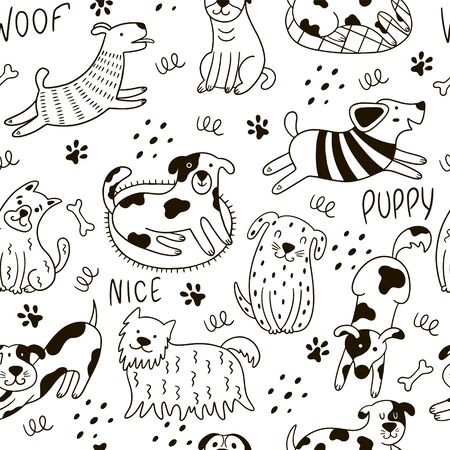 Funny doodle dogs seamless pattern. Scandinavian illustration with dogs, paws, dots, phrases on a white background. Perfect for wallpaper, wrapping, textiles. Vettoriali