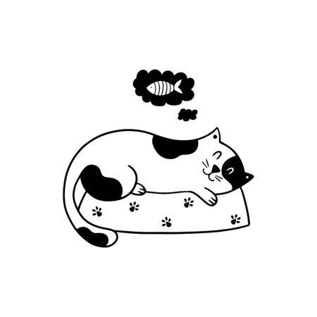 Good night poster with a doodle kitten. Cute cat sleeping on his bed. Hand-drawn vector illustration on a white background.  Vettoriali