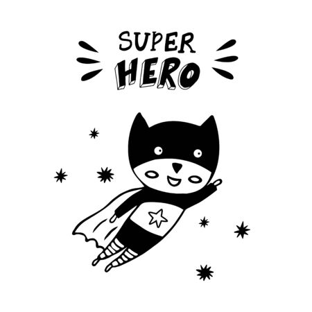 Superhero in a black costume on a white background. Cute scandinavian poster with a hero and hand-drawn lettering for wall art. Vettoriali