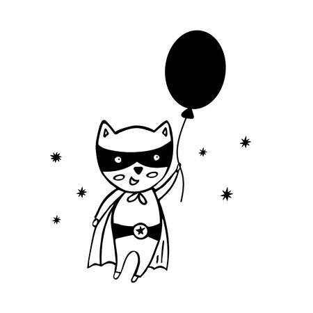 Superhero in a black suit on a white background. Cute kids poster with a flying superhero, balloon, stars in Scandinavian style.