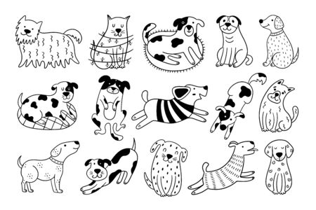 Collection of cute dogs. Set of 15 doodle pets on a white background. Hand-drawn vector illustration with black and white dogs. Vettoriali