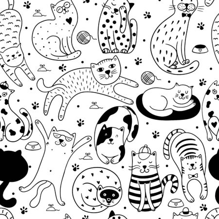 Cute cats seamless pattern. Vector illustration with cats and paws on a white background. It can be used for textile, wallpaper, wrapping