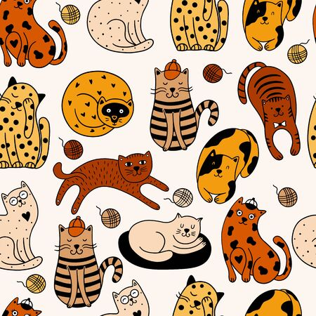 Cute cats seamless pattern. Vector illustration with colorful cats on a white background. It can be used for textile, wallpaper, wrapping Vettoriali
