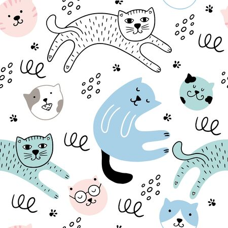 Cute cats seamless pattern. Vector illustration with cats, paws, dots on a white background. It can be used for textile, wallpaper, wrapping