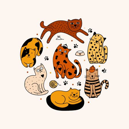 Set of 7 hand-drawn cats isolated on a white background. Round ornament with pets, paws, dots.