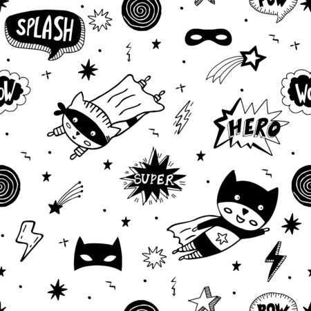 Seamless pattern with superhero character, superhero masks, speech bubbles, stars on white background. Vector doodle background.