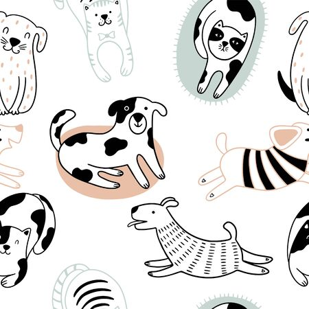 Cute cats and funny dogs Scandinavian seamless pattern. Childish background with pets. Can be used for wallpaper, packaging, textiles.