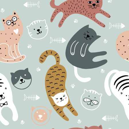 Cute cats childish seamless pattern. Background of colorful kittens. It can be used for textiles, wallpaper, packaging. Vettoriali