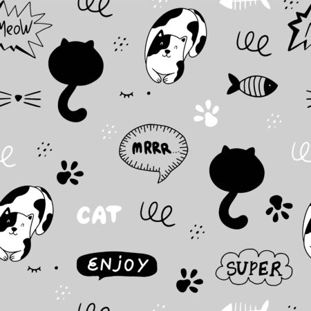 Cute cats seamless pattern. Vector illustration with cats, paws, fish, speech bubbles, phrases on a gray background. It can be used for textile, wallpaper, wrapping