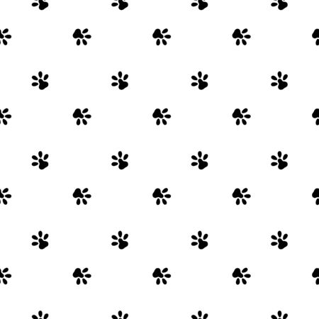 Dog paws seamless pattern isolated on a white background. Cat paws vector background. It can be used for wallpaper, wrapping, textile.
